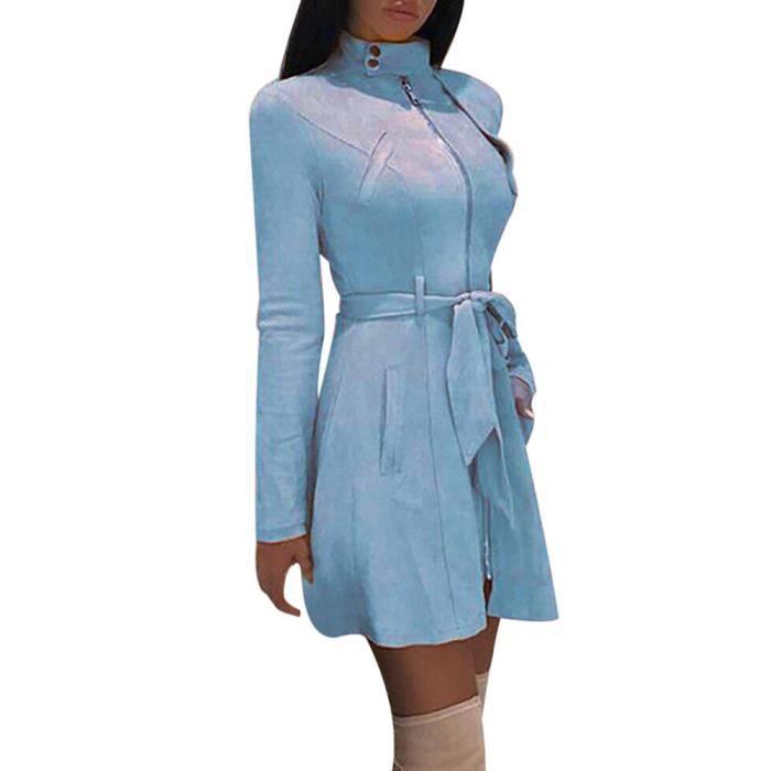 Femmes Pardessus vent Bow Solid Zipper Manteau Mode Turtleneck Coupe rw5489 Bandage Ofqpn4Ww