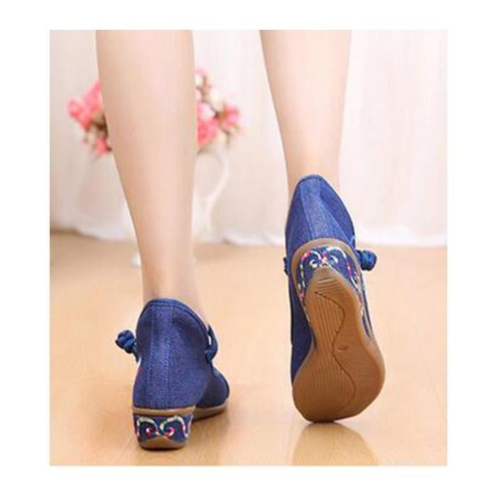 Les Chaussures Floraux Chinoise pour les femmes Les ballerines broderie multicolore