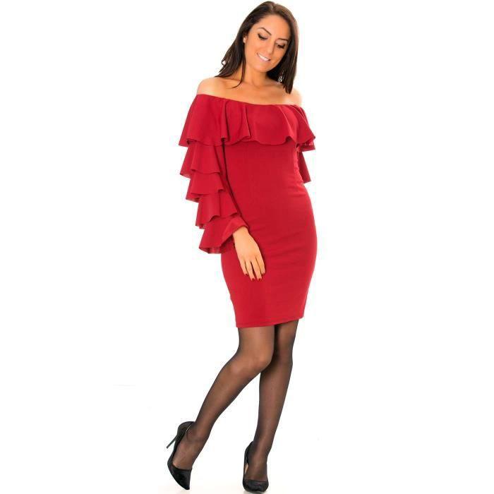 Miss Wear Line - Robe bordeaux avec manches et col à volants