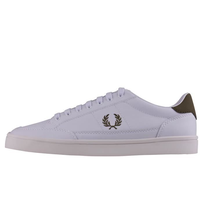 Fred Perry Deuce Hommes Baskets Blanc - 8 UK