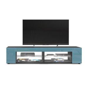 MEUBLE TV Meuble Tv  Noir mat  Façades en Turquoise laquées