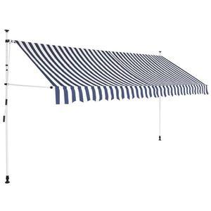 PARAVENT Auvent rétractable manuel 400 cm Rayures bleues et