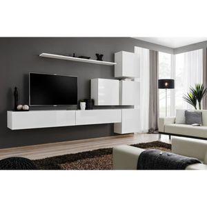 MEUBLE TV MURAL Composition TV murale Blanc - Blanc PENIG - n°9