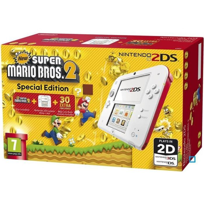 CONSOLE 2DS 2DS Rouge + New Super Mario Bros 2