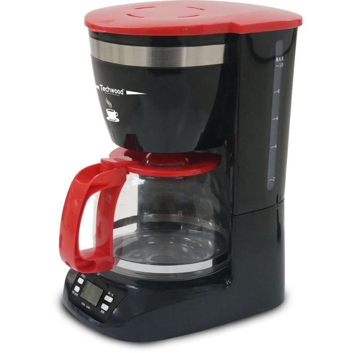 TECHWOOD TCA-995 Cafetière filtre programmable - Noir et Rouge