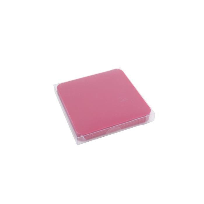 YONG Set de 12 Sous-verres plastique - 9x9cm - Rose vif