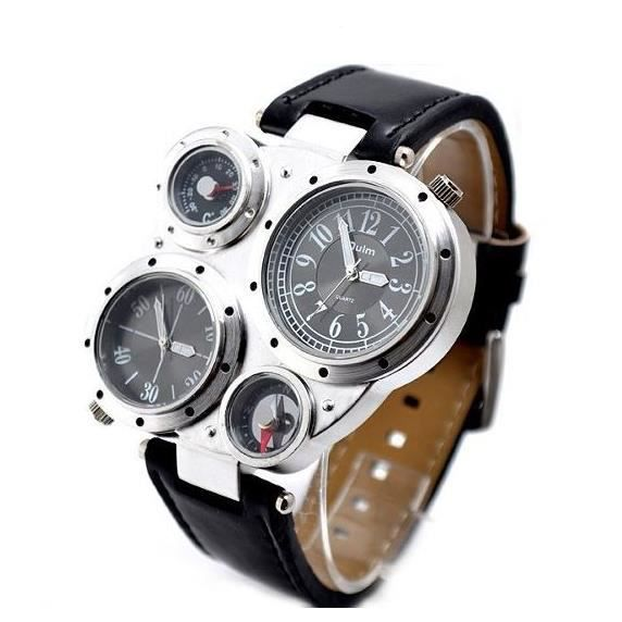 montre homme 4 cadran 2 fuseaux horaire boussole achat vente montre soldes d s le 10. Black Bedroom Furniture Sets. Home Design Ideas