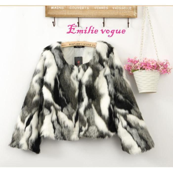 manteau Fourrure En Emilie Vogue Fausse Femme casaque Courte Veste TnSqpwwO