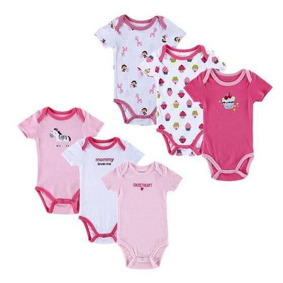 b382e54868baa 6pcs-set Vêtements pour bébé nouveau-né Romper fille Costume en coton de  vêtements
