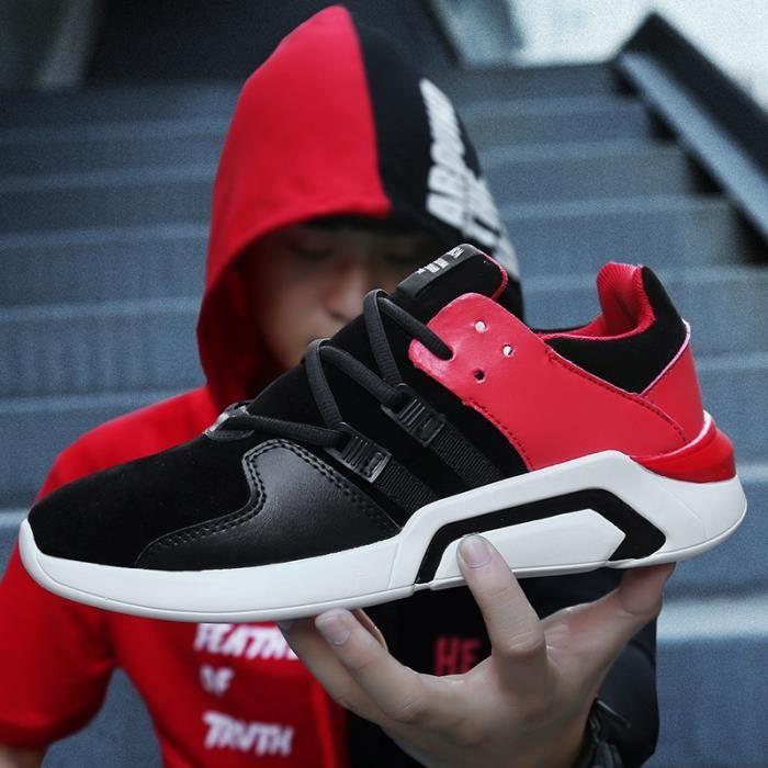 Skateshoes Homme Korean Simple Solf en cuir cool été - automne Sneakers Casual noir-rouge taille9.5