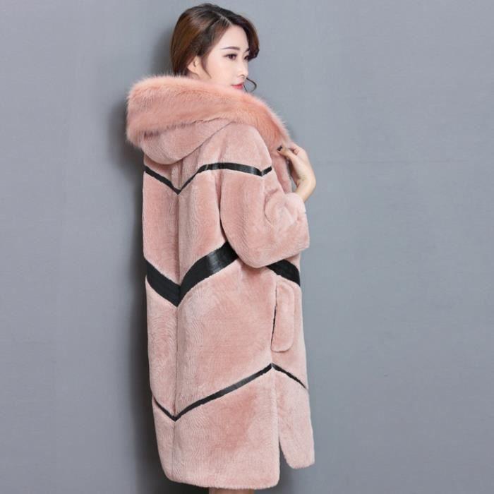 En Rose gris Fourrure De À Manteau Femmes Huixin®les Long Moutons Haut Tonte Manteaux Des noir vert 7anwx87fUq