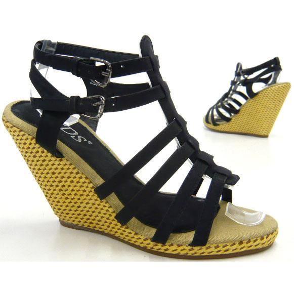 femmes chaussures l'escarpin sandales nouveau avec semelle à talon compensé noir 38 tLxycL