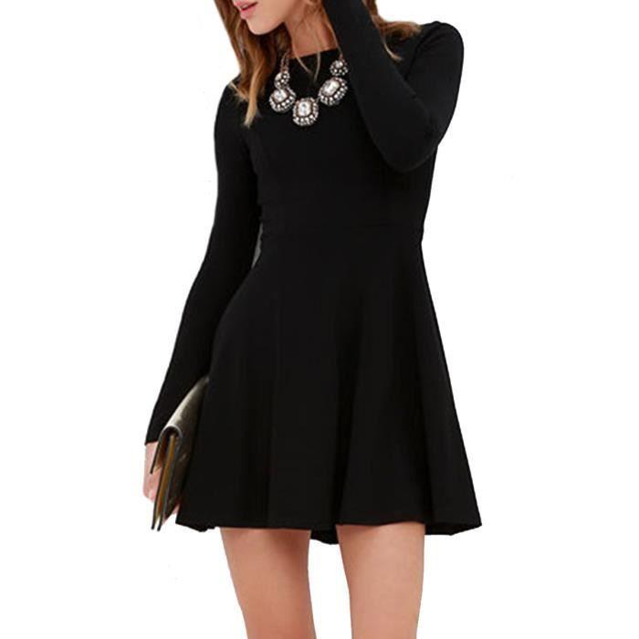 o robe des femmes cou à manches longues mince en forme de mini-robe aline