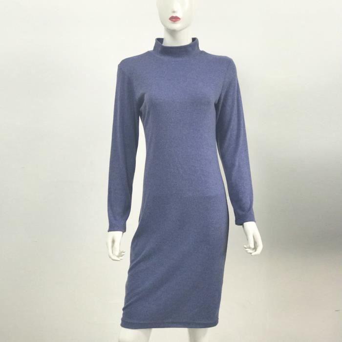 Yunsoel®Les femmes à manches longues Solide Col roulé Gaine moulante Slim Robe courte@zf724