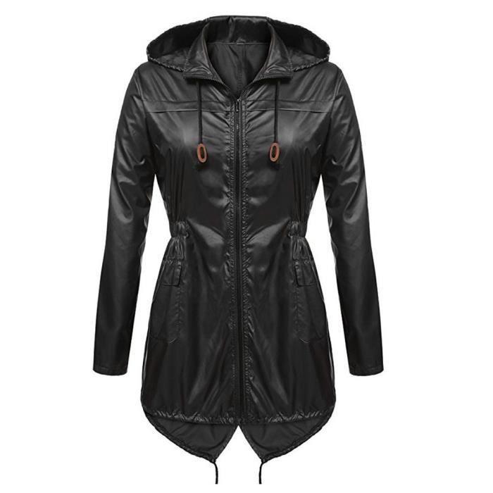Femmes Raincoat Active Imperméable Trench Léger À Capuche Coat Pluie 45RjAL