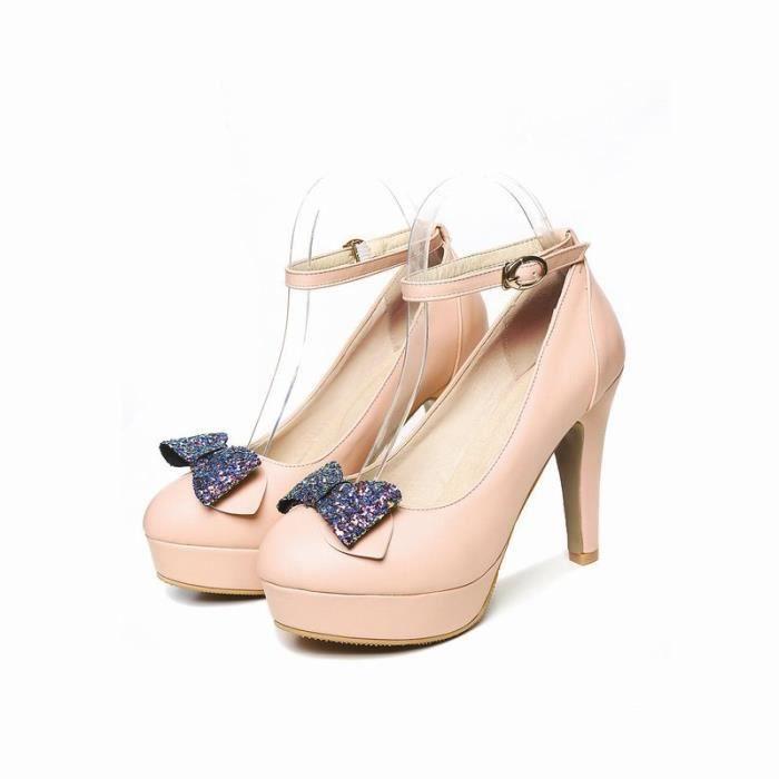 Femme Mode Bout Ferme Pliez Arc Aiguille Talon Pumps Satin Papillon Chaussures de Mariage