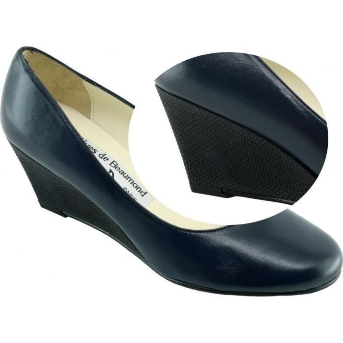 Kessy - Escarpin Compensé marques Yves de Beaumond chaussure luxe Femme petites pointures tailles cuir bleu marine