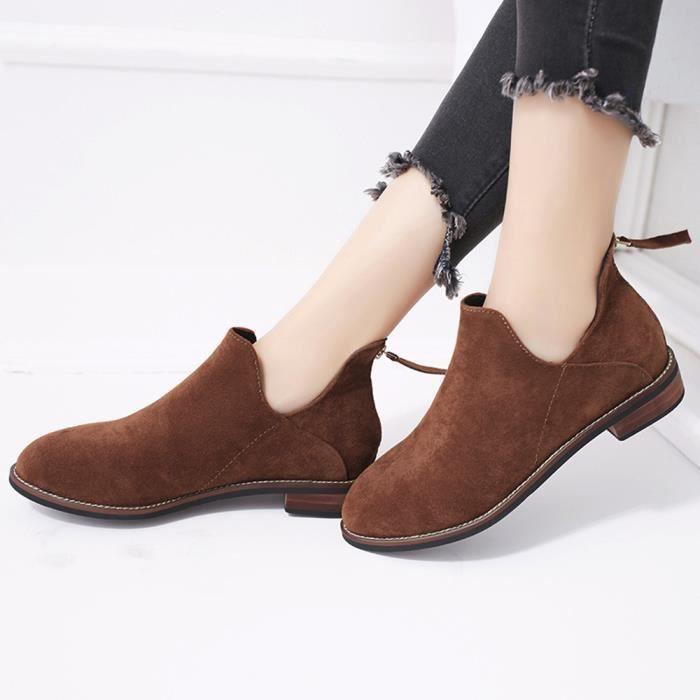 Napoulen®mode boucle zip solide Martin bottes populaire pour femmes Marron-XMM71114532BW