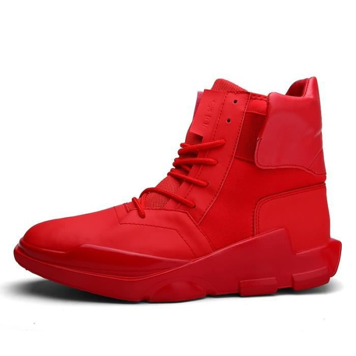 Botte Homme Velcro chaud Basketball de plate-forme pour hommes rouge taille6.5