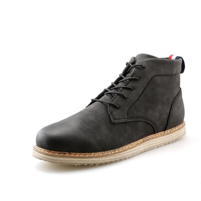 Botte Homme Nouveau design Vintage antidérapante Skater en cuir pour hommes noir taille8.5