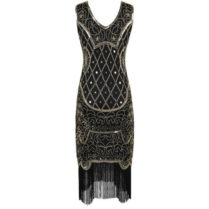 Womens 20s Gatsby Cocktail Baroque Sequin Fringed Flapper Dress 2YMPCA Taille-36