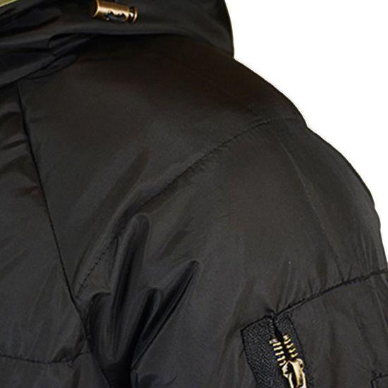 En Hommes Toison Capuchon Rembourré D'hiver Chaud Coton Zippé Noir À Solide Manteau Épais Veste U6Adxfn