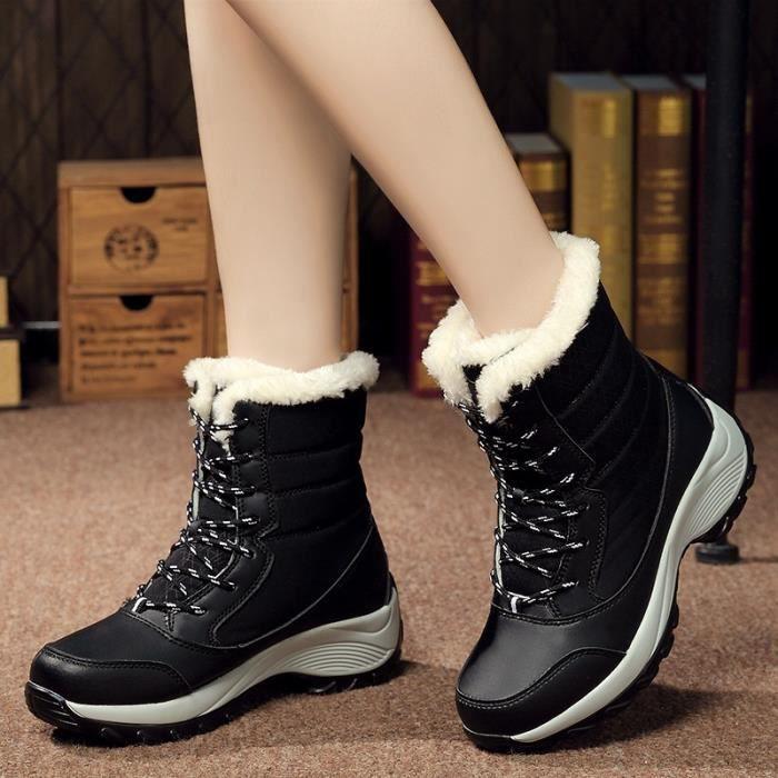Botte Femme Femmes Tendance chaud New Design Ajouter en laine noir taille4.5