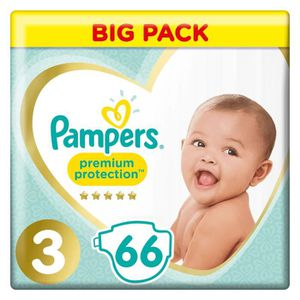 COUCHE PAMPERS Premium Protection Taille 3 5-9 kg - 66 Co