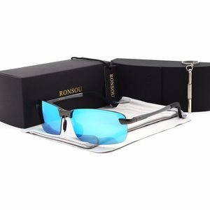 c6b05075cffb23 LUNETTES DE SOLEIL Ronsou Hommes UV400 Sans Monture En Aluminium-Magn