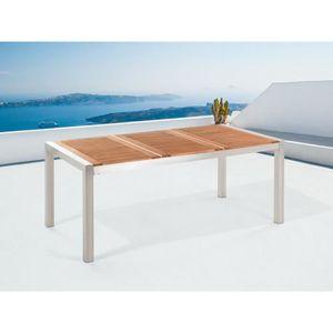 Table de jardin acier inox - plateau en bois - triple 220 cm ...