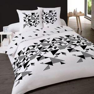 housse de couette 200x200 noir et blanc achat vente pas cher. Black Bedroom Furniture Sets. Home Design Ideas