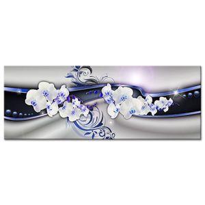 TABLEAU - TOILE Tableau Déco Abstrait Orchidées - Abstrait  - 80x3