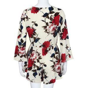 COMBINAISON Femmes Femmes Imprimer Clubwear V Cou Combishort M ... 31e3a58d83b5