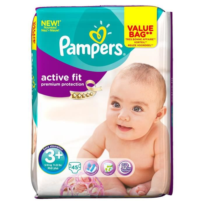 COUCHE PAMPERS Active Fit T3+ Midi+ 5-10 kg x45 couches