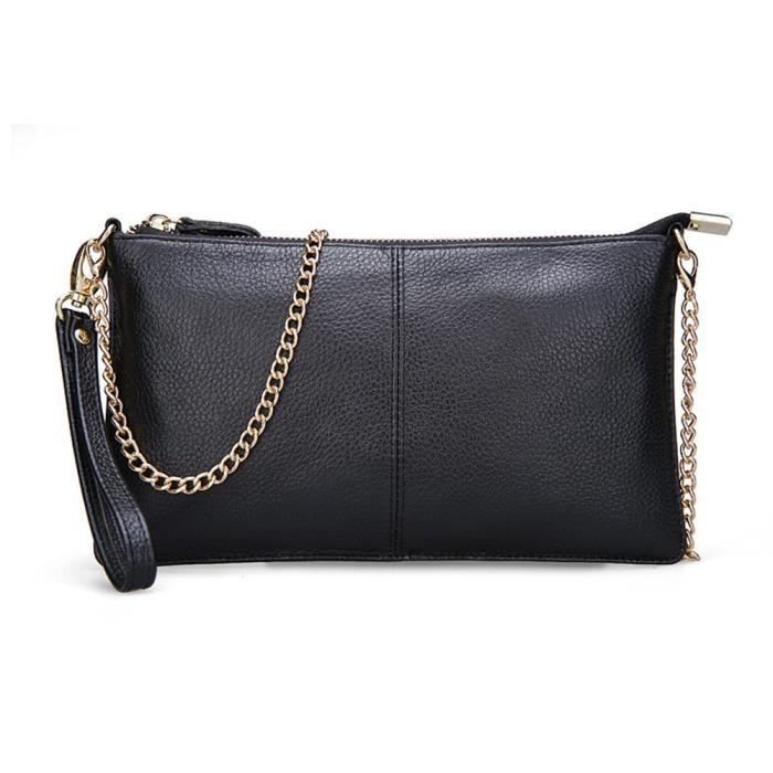 Embrayage sac en cuir Petite chaîne sac noir rouge de Crossbody dembrayage Portefeuilles téléphoniquesJ4L7E