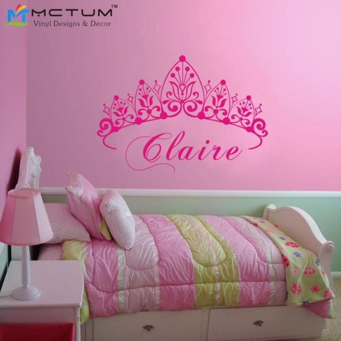 b b fille couronne stickers muraux princesse nom nursery sticker adh sifs muraux vinyle wall. Black Bedroom Furniture Sets. Home Design Ideas