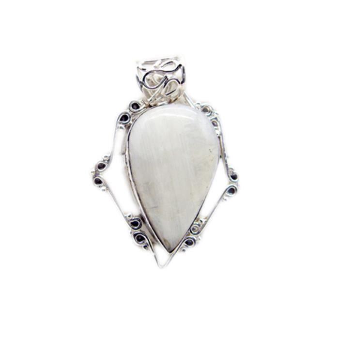 Arc-en-Moonstone Pendentif - Pendentif - Pendentif Blanc - Blanc pendentif en argent