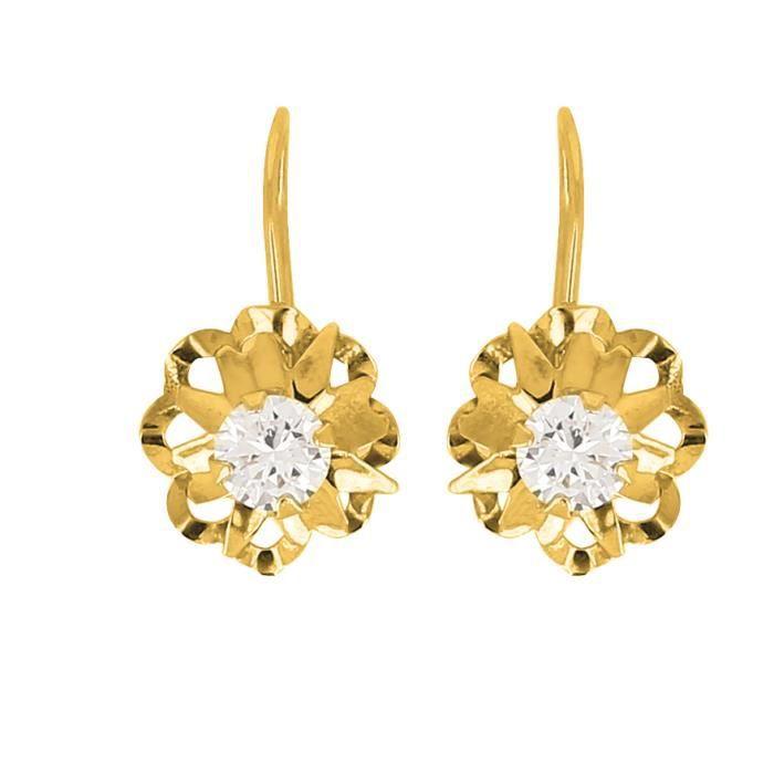 boucles d 39 oreilles dormeuse or jaune 18 carats achat vente boucle d 39 oreille boucles d. Black Bedroom Furniture Sets. Home Design Ideas