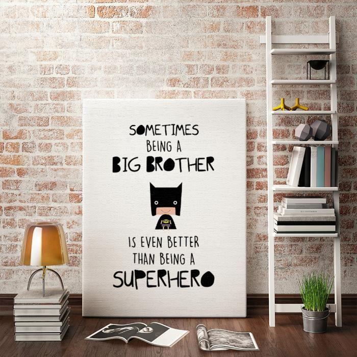 avec cadre int rieur super h ros citation d 39 art de toile affiche d 39 impression pour la. Black Bedroom Furniture Sets. Home Design Ideas