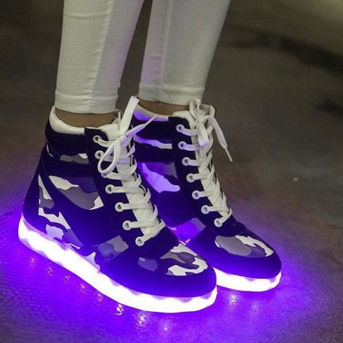 Haute Qualité 8 couleurs chaussures LED USB rechargeable allume Chaussures LED Noir MD8iOP2Ob4