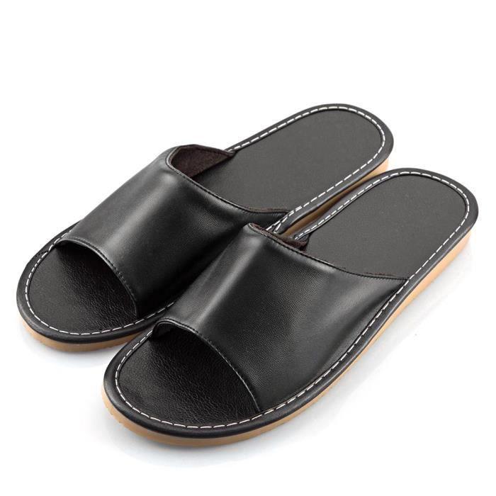 Haining en cuir Pantoufles Lovers Maison Ameublement Intérieur étage Classique Chaussures