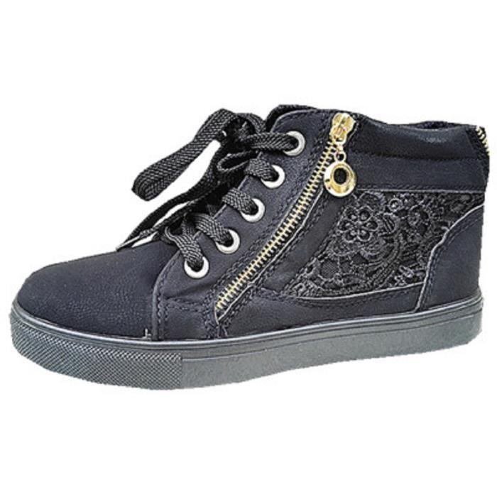 Fashionfolie888 - Femme Baskets montante dentelle chaussure fille lacet mode zip MD1312 NOIR