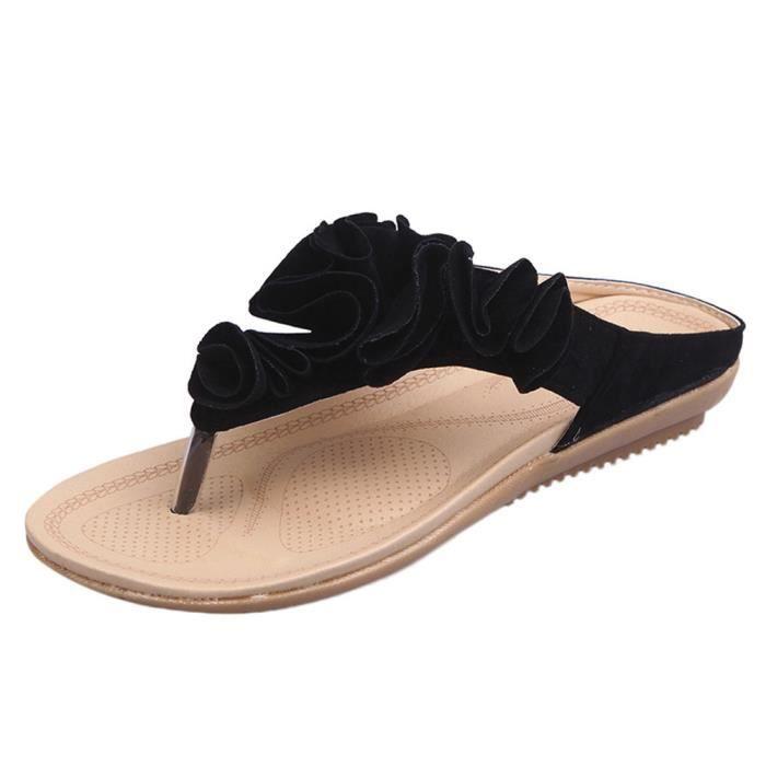 Sandals Plage Floral Femmes Tongs Jolie Lady Plates D'été Chaussures noir Occasionnels zp4xfp