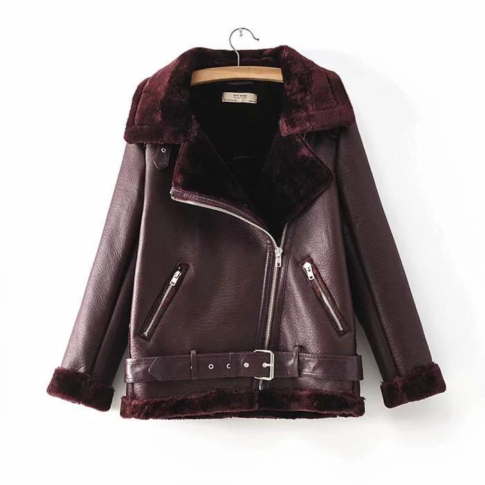 Manteau de veste de moto en faux PU Femmes col de fourrure épaisse ... 298f3d0f9cc6