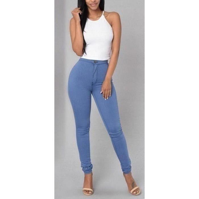 Couleur bonbon Bleu pantalon collant skinny taille haute classique stretch amincissant grosse fesse sexy crayon Grande taille