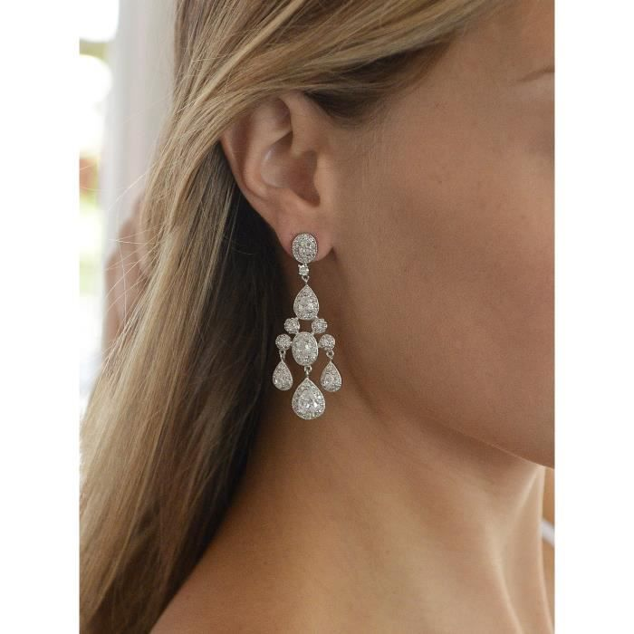 Womens Vintage Glam Cz Wedding Or Pageant Chandelier Earrings With Oval-cut Gems & Pear-shaped Dan FHPZV
