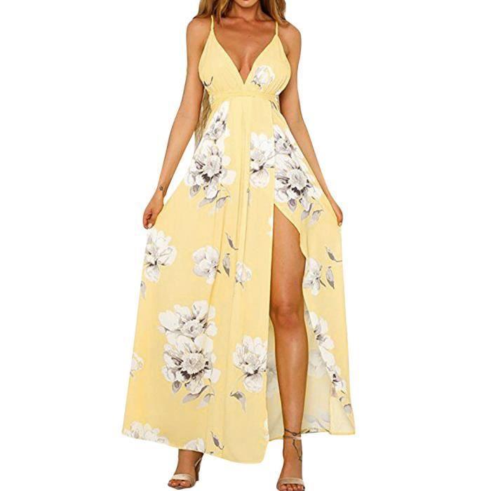 jaune Sundress Plage Partie Fleur Longue De Robe Sexy Soirée Manches Femmes zvXf4