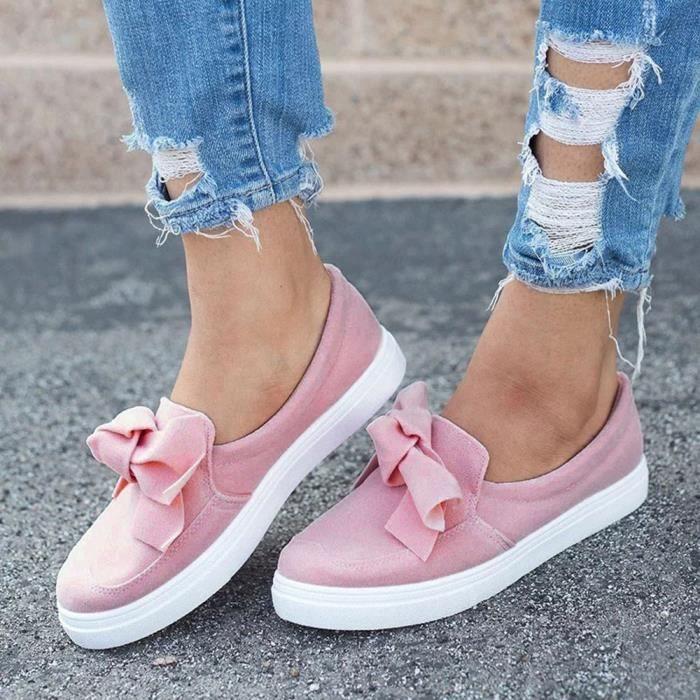 À Sneakers Chaussures Bowknot Mesdames Mode Filles Casual Rose De Plat Lacets Femmes 6ZZIwC