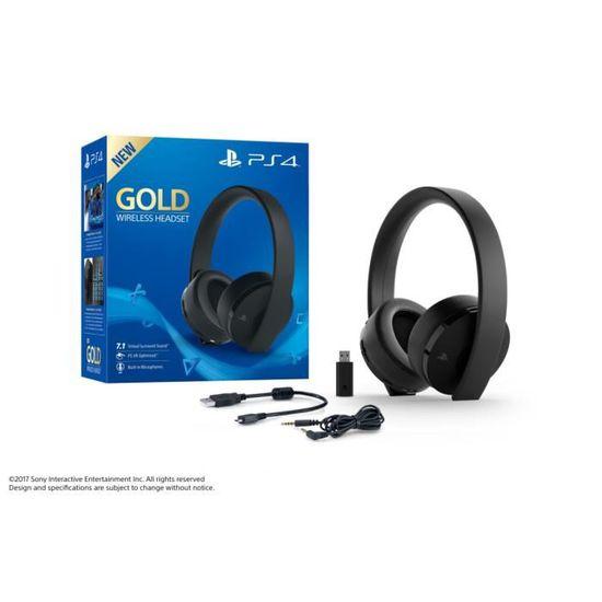 Casque Sans Fil Gold Sony Virtual Surround Sound 71 Pour Ps4