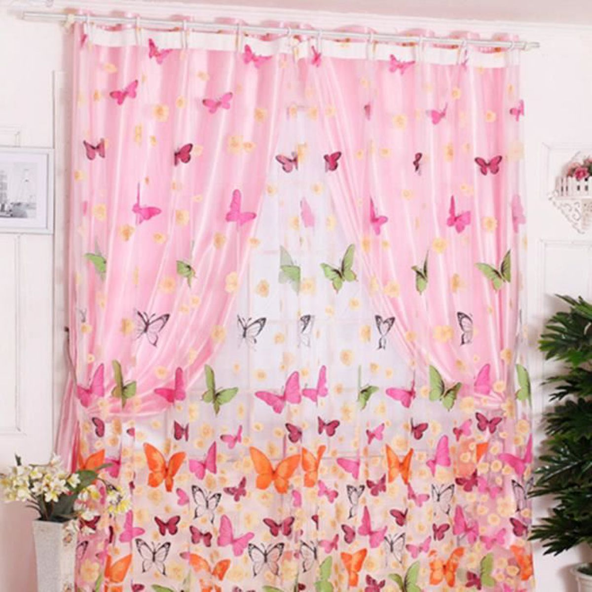 Double voile rideau nouveaut papillon salle bain balcon maison achat vente rideau cdiscount for Double rideau rose